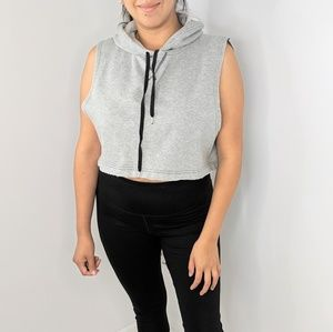 Out From Under Grey Hoodie Crop Tank Top M